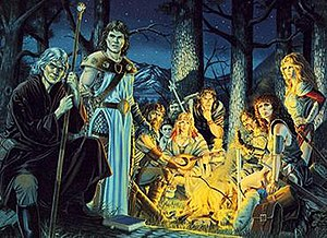 Dragonlance - Image: Dragonlance Characters around a campfire by Larry Elmore