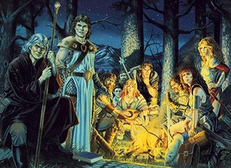 Dragonlance - The Heroes of the Lance: from left Raistlin, Caramon, Tanis, Tasslehoff, Flint, Goldmoon, Riverwind, Sturm, Tika, and Laurana. Tracy Hickman keeps this Larry Elmore painting on the wall in his office.