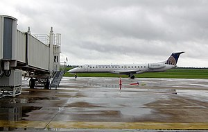 Brownsville/South Padre Island International Airport - An ExpressJet Airlines ERJ 145 arriving at the Gate 2 jetway.