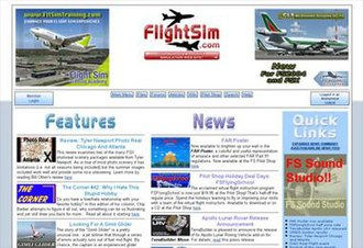 Flightsim.com - Screenshot of FlightSim.Com homepage in November 2008.