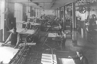 Gale & Polden - Large letterpress machines at work at Gale and Polden in Aldershot preparing the text for the printing presses c.1915