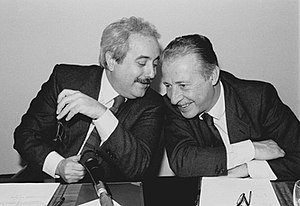 Giovanni Falcone - Giovanni Falcone (on the left) and Paolo Borsellino. The picture of both assassinated judges became an iconic symbol of the struggle against Cosa Nostra. It is often used on posters and articles commemorating the fight against the Mafia.