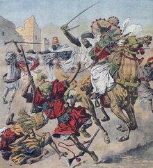 Mounted French goumiers running down Moroccan tribesmen mounted and on foot