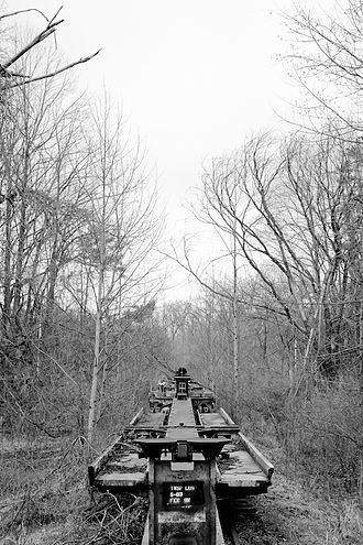 Indiana Army Ammunition Plant - Disused rail cars line a track built in 1975 for the new smokeless powder manufacturing facility that was completed in 1979. The new plant was never fully utilized and was demolished in 2008.