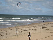 Kitesurfing is a popular activity in Noordwijk in the Netherlands