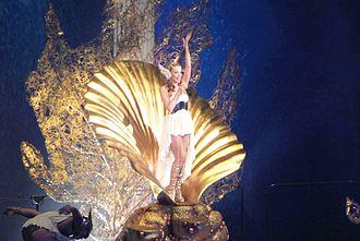 "Aphrodite: Les Folies Tour - Minogue emerging as ""Aphrodite"" at the Sydney Entertainment Centre."