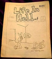 A book with black and white pencil drawings, with a large title on top, and a drawing of an anthropomorphic bunny kneeling before a dead anthropomorphic bunny