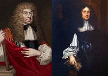 A split portrait of John Berkeley (left) and George Carteret (right).