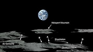 Peak of eternal light - Lunar South Pole, 4 peaks are identified which are illuminated more than 80% of the time