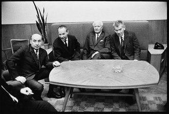 Prague Spring - Main protagonists of Prague Spring in 1968 (L-R) Oldřich Černík, Alexander Dubček, Ludvík Svoboda and Josef Smrkovský