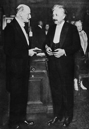Max Planck Medal - The inaugural award: Max Planck (left) presents Albert Einstein (right) with the Max Planck medal of the German Physical Society, 28 June 1929, in Berlin, Germany.