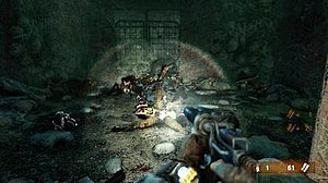 4A Engine in action on Metro: Last Light: the player character, Artyom, pointing a double-barreled shotgun at an enemy in Moscow Metro.