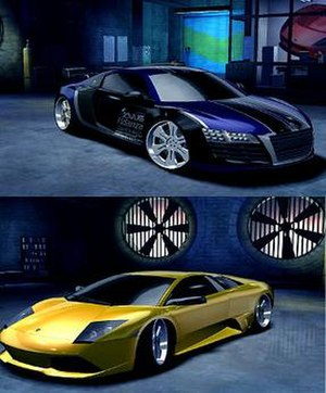 "Need for Speed: Carbon - A heavily modified Audi Le Mans Quattro is compared to a stock Lamborghini Murciélago LP640, showing the ""Autosculpt"" feature of the game."