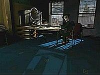 Ein Bild eines Büros, das von einem Computer gerendert wurde;  Das Büro verfügt über zwei Fenster, einen Schreibtisch, einen ovalen Computermonitor und zusätzliche Möbel.  Die Wände und Dekorationen der Möbel sind im Art-Deco-Stil gestaltet.  Eine Skelettfigur sitzt auf einem der Stühle und schaut zum Betrachter.
