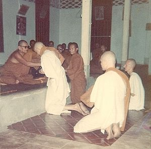 Ajahn Chah - Ajahn Chah welcoming as a novice a New Zealander, later to become Ajahn Munindo, abbot of a monastery in the north of England