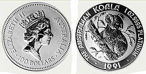 "Platinum coin - The obverse and reverse of the coin ""Platinum Koala 1991 coinage"