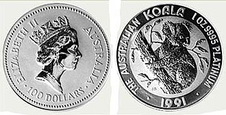 Platinum Koala - The obverse and reverse of the Platinum Koala (1991)