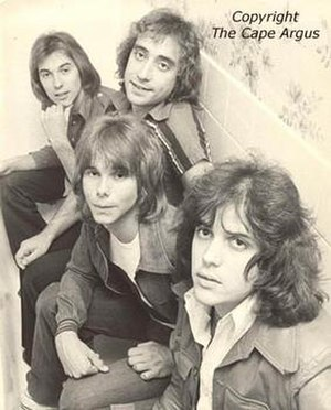 Rabbitt - Rabbitt, 1976.  L-R: Neil Cloud, Duncan Faure (leaning forward), Ronnie Robot and Trevor Rabin