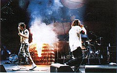 Rage Against The Machine burns the American flag onstage (1999).jpg