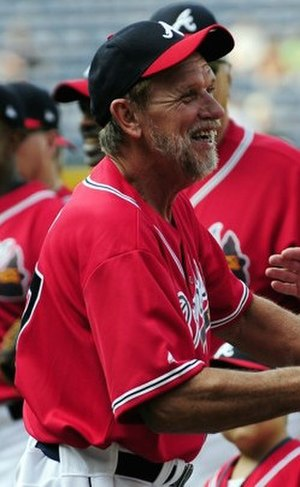 Rick Camp - Rick Camp greets other players before a Braves Legends Game in 2011.