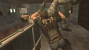 Rogue Warrior (video game) - Richard Marcinko using a kill move to eliminate an enemy. A third-person perspective is used when showing kill moves.