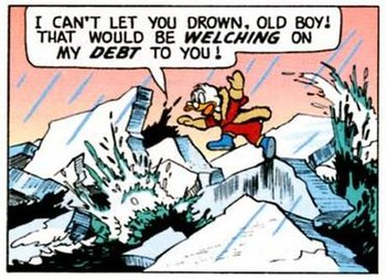 Scrooge rescues Barko. Art by Carl Barks.