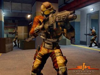 SiN Episodes - Three Mercenaries, two with the Assault Rifle, one with the Scattergun. The closest one, in helmet, is a heavy version