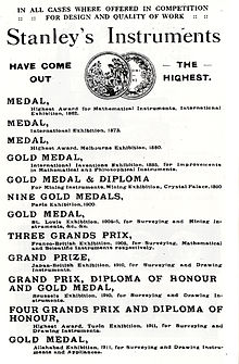 A list of some of the medals won by the Stanley Company, including Gold Medals and Grands Prix