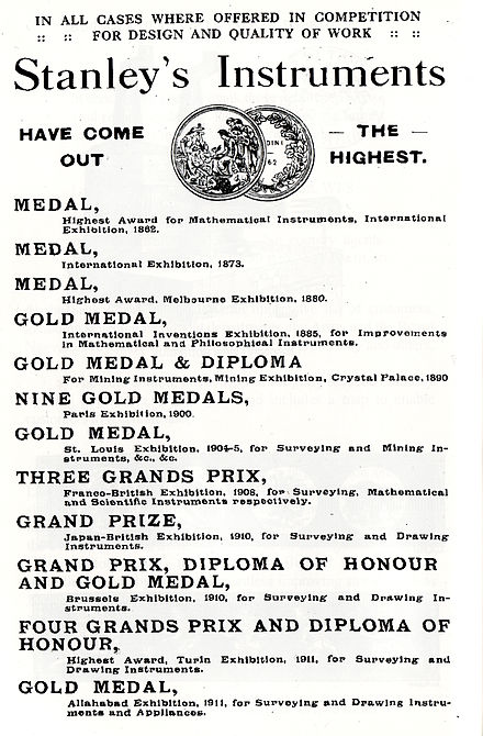 Some of the awards and medals won by the Stanley Company Stanley Medals.jpg