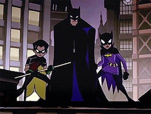 The Batman - Robin, Batman and Batgirl as they appeared in the Season 4 intro.