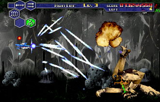 The Gauntlet fighting an enemy in the second level. Thunder Force V screenshot.png