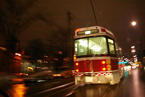 Toronto Transit Commission streetcar by night