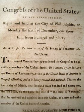 1790 Act of Congress admitting Vermont to the federal union. Statehood began on March 4, 1791.