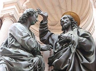 Christ and St. Thomas (Verrocchio) - Closeup of the copy
