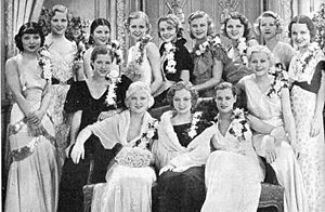 "WAMPAS Baby Stars - The ""WAMPAS Baby Stars"" of 1932. Rear row: Toshia Mori, Boots Mallory, Ruth Hall, Gloria Stuart, Patricia Ellis, Ginger Rogers, Lilian Bond, Evalyn Knapp, Marian Shockley. Front row: Dorothy Wilson, Mary Carlisle, Lona Andre, Eleanor Holm, Dorothy Layton, (June Clyde is not pictured)."