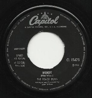 """Wendy (song) - Label to single release as B-side of """"Good Vibrations"""""""