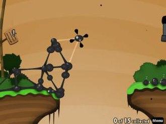 World of Goo - Placing a goo ball to construct a bridge.