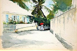 "Stephen Scott Young - ""Study for Allamanda Lane,"" Watercolor on paper, 1992"