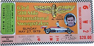 1979 Indianapolis 500 - Ticket stub