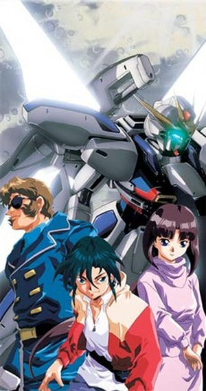 After War Gundam X - Promotional image of the main protagonists and mobile suit Gundam X