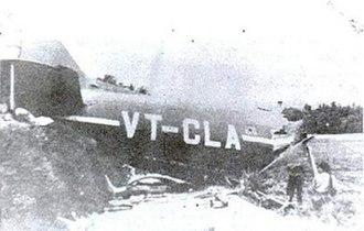 Dakota VT-CLA - The tail of VT-CLA, after the crash