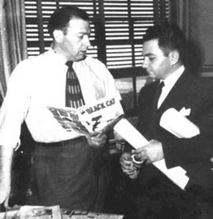 Lee Elias - Lee Elias (r.) with Harvey Comics  publisher Alfred Harvey in 1947