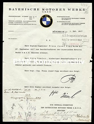 Franz Josef Popp - Appointment Certificate naming Popp as General Director of BMW GmbH in 1917