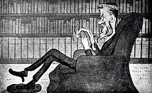 caricature of middle-aged bearded man at his ease in an armchair