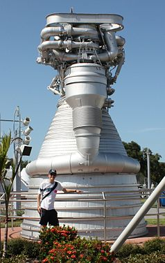 Me with an F-1 engine at the Kennedy Space Centre, Florida.