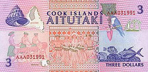 Cook Islands dollar - Image: Cook Islands P7 3Dollars (1992) b