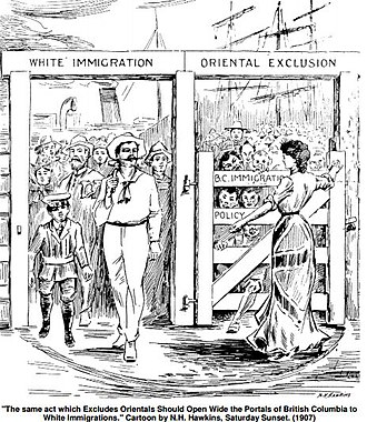 Immigration to Canada - Exclusionist cartoon in Saturday Sunset magazine by N. H. Hawkins, Vancouver, 24 August 1907