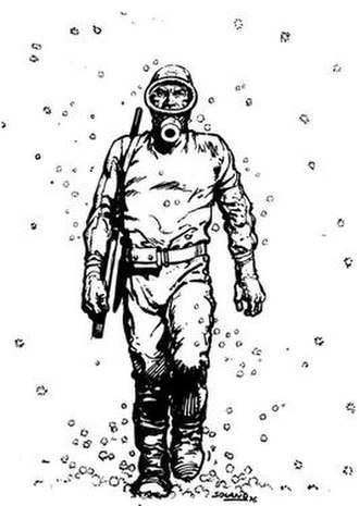 "The Eternaut - El Eternauta, wearing the improvised hazard suit and surrounded by the deadly ""snow""."
