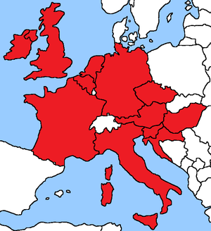 Entente Florale - Map of countries which take part in the Entente Florale