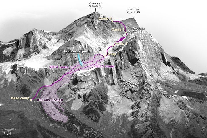 The location of the fatal ice avalanche on the 2014 route, and the revised 2015 route through the Khumbu.
